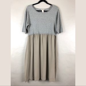 Sundance Gray Knit Sweater Top Silk Midi Dress